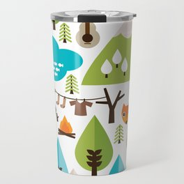 Wild camping trip with fox and wild animals illustration Travel Mug