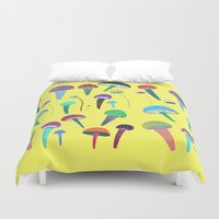 mushrooms Duvet Covers featuring Mushrooms  by Ashley Percival illustration