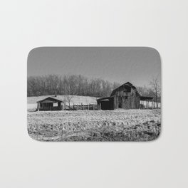 Days Gone By - Old Arkansas Barn in Black and White Bath Mat