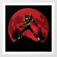 neon genesis evangelion Art Prints featuring Neon Genesis Evangelion Unit 01 - Hill Top by kamonkey