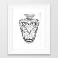 ape Framed Art Prints featuring Ape by Eugene Lee