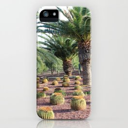 Tropical landcsape with cactus and Palm trees iPhone Case
