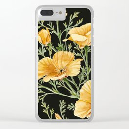 California Poppies on Charcoal Black Clear iPhone Case