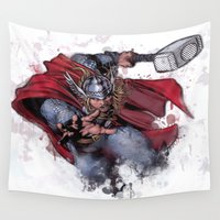 thor Wall Tapestries featuring Thor by Isaak_Rodriguez