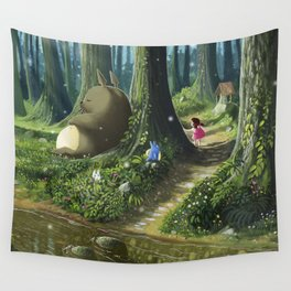 Totoro and Mei Wall Tapestry