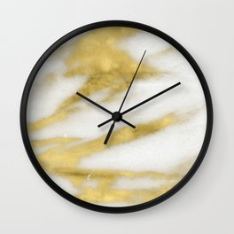 Marble - Gold Marble on White Pattern Wall Clock