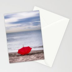 Red Umbrella at the beach Stationery Cards