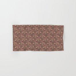 Old Rose Pink Woodcut Style Bellflower William Morris inspired Pattern Hand & Bath Towel
