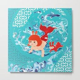 Baby Girl Mermaid Metal Print