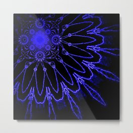 The Modern Flower : Blue Electricity Metal Print