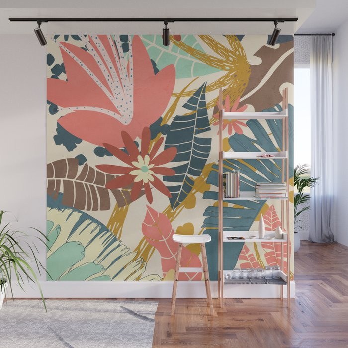 Tropical Flowers and Leaves Wall Mural