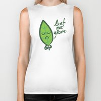 introvert Biker Tanks featuring The introvert leaf by Picomodi