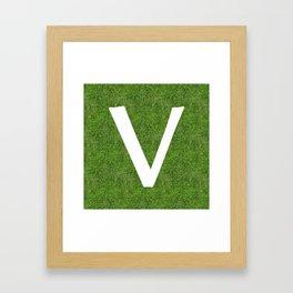 V initial letter alphabet on the grass Framed Art Print
