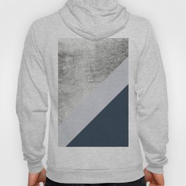 Modern minimalist navy blue grey and silver foil geometric color block Hoody