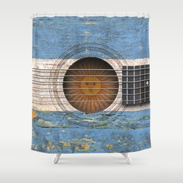 Old Vintage Acoustic Guitar with Argentine Flag Shower Curtain