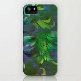 Jungle Floral Neck Gator Green and Purple Jungle Flowers iPhone Case