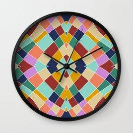 Retro Colored Church Window Pattern Wall Clock