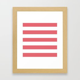 Light carmine pink - solid color - white stripes pattern Framed Art Print