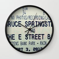 bruce springsteen Wall Clocks featuring Bruce Springsteen & the E Street Band: Rain or Shine by Christine Leanne
