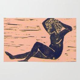 Bathing Girl in Purple/Pink Rug