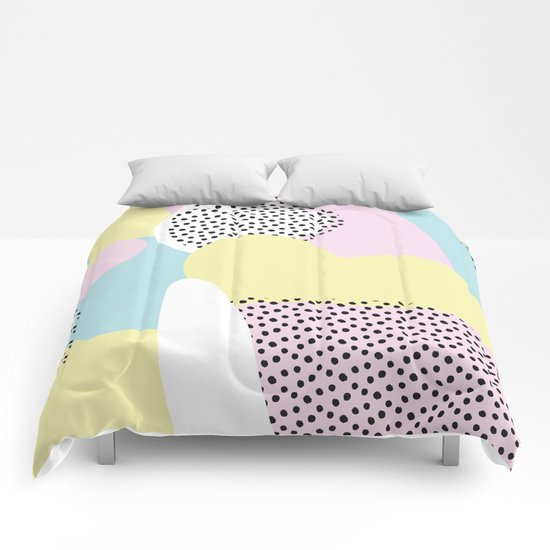 Candy Pink Blue Blobs & Dots Pattern Comforters