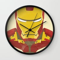 iron man Wall Clocks featuring IRON MAN by LindseyCowley