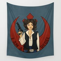 rebel Wall Tapestries featuring Rebel Girl by Karen Hallion Illustrations