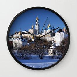 Sergiev Posad monastery (lavra) at sunny winter day Wall Clock