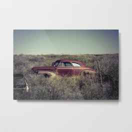 Rusting Vintage Auto in a Sea of Weeds in Bard New Mexico along Route 66 Metal Print