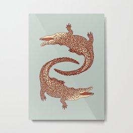Crocodiles (Calm Beige and Gray Palette) Metal Print