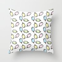 popsicle Throw Pillows featuring Popsicle by Ariadna Macías