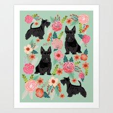 Scottish Terrier florals pet portrait dog lover gifts for scottie dog owners Art Print