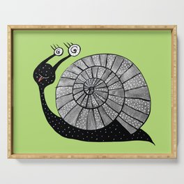 Cartoon Snail With Spiral Eyes Serving Tray