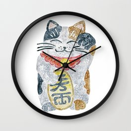 Watercolor Maneki Neko / Lucky Cat Wall Clock