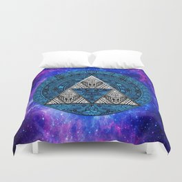 Triforce Circle With Blue Nebula Duvet Cover