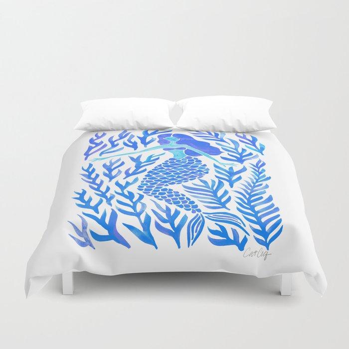 Kelp Forest Mermaid – Blue Palette Duvet Cover