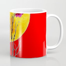 RED SURREAL FULL MOON & PINK WINTER ROSES Coffee Mug