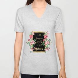 """Modern golden inspirational  quote, """"all things are possible if you believe"""" Unisex V-Neck"""
