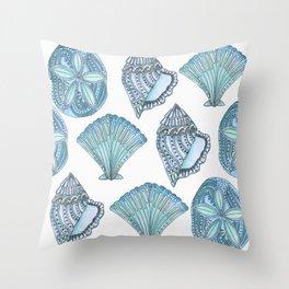 Watercolor Blue Seashells  Throw Pillow
