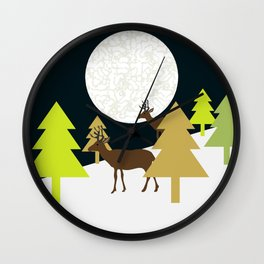 Deer on a hill Wall Clock