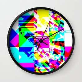 Glitch geometric pattern design artwork Wall Clock