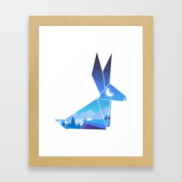 Origami Bunny (Nap on the cliff) Framed Art Print