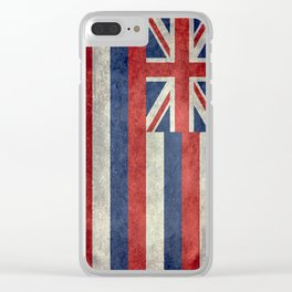 Hawaiian Flag in Vintage Retro Style Clear iPhone Case