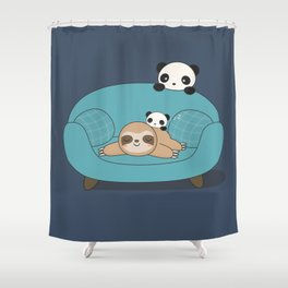 Kawaii Panda and Sloth Shower Curtain
