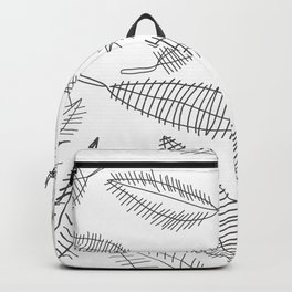 Feather Leaves in Black White Backpack