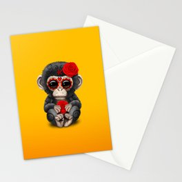 Red and Yellow Day of the Dead Sugar Skull Baby Chimp Stationery Cards