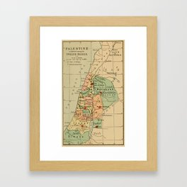 Map of Palestine Divided by the 12 tribes from 1889 Framed Art Print