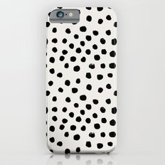 Preppy brushstroke free polka dots black and white spots dots dalmation animal spots design minimal Slim Case iPhone 6