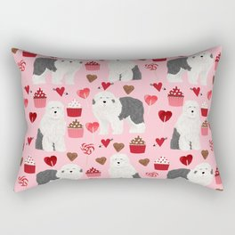 Old English Sheepdog valentines day hearts cupcakes pattern pet portrait dog art gifts love Rectangular Pillow