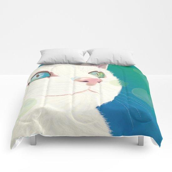 Odd-eyed White Cat Comforters